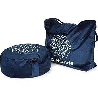 DiMonde Zafu meditatiekussen, rond, met tas uit Zweden, afneembare en wasbare overtrek, vulling van sarrasin, zijgreep…