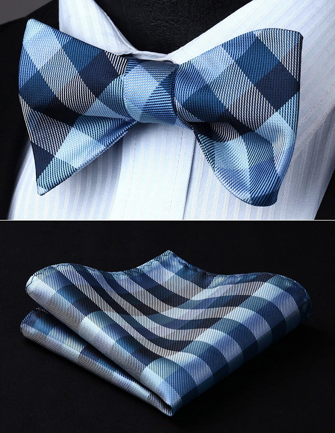 HISDERN Check Dots 6 Clips Suspenders /& Bow Tie and Pocket Square Set Y Shape Adjustable Braces