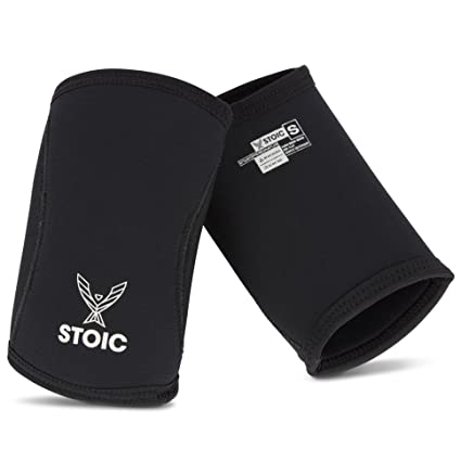 a9567fd3b76 Stoic Elbow Sleeves for Powerlifting - 7mm + 5mm Thick Neoprene Sleeve for  Bodybuilding, Weight