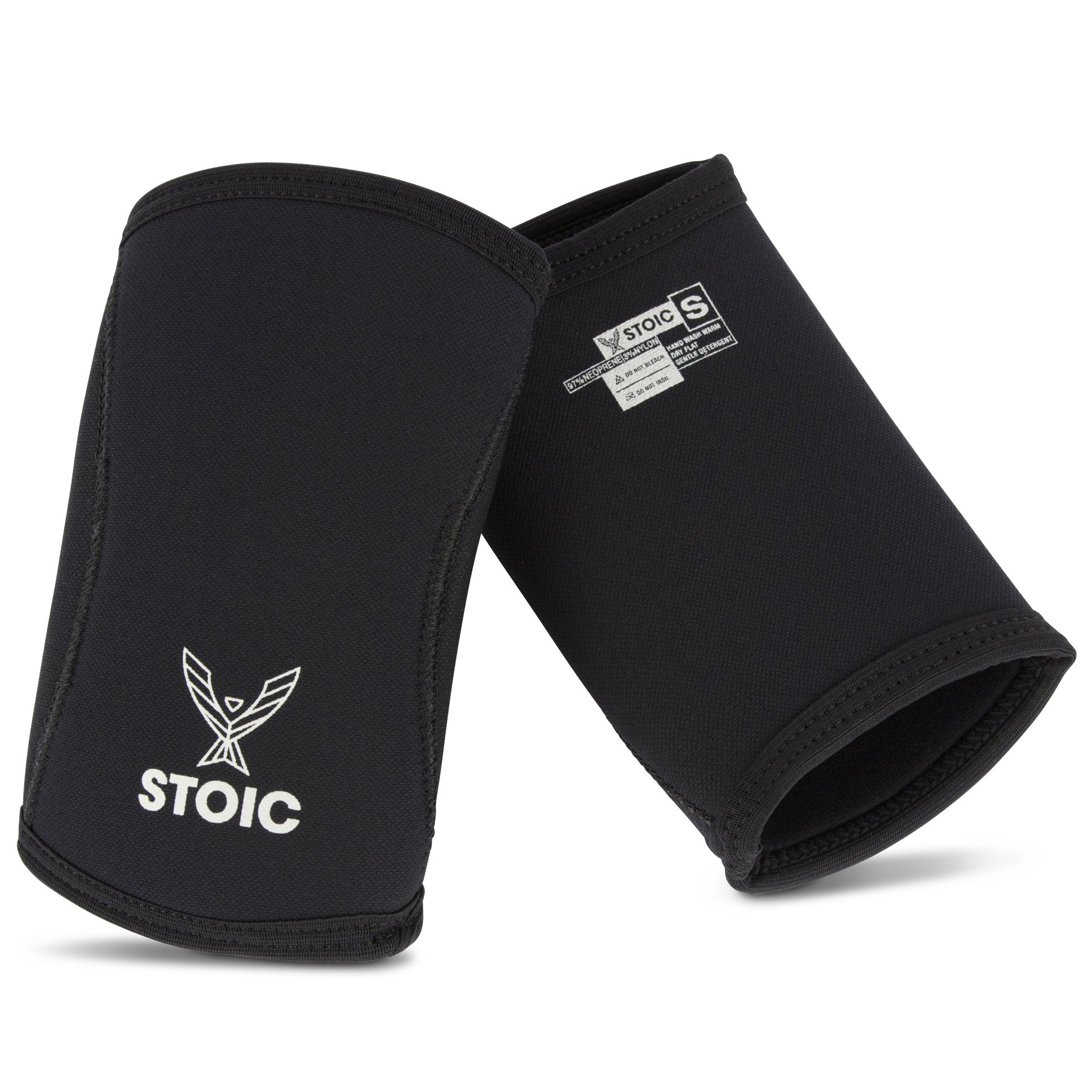 Stoic Elbow Sleeves for Powerlifting - 7mm + 5mm Thick Neoprene Sleeve for Bodybuilding, Weight Lifting Best for Squats, Cross Training, Strongman Professional Quality & Ultra Heavy Duty (Pair)