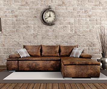 Ecksofa vintage look  Eckcouch Cariba Braun 275x180 cm mit Schlaffunktion Vintage Look ...