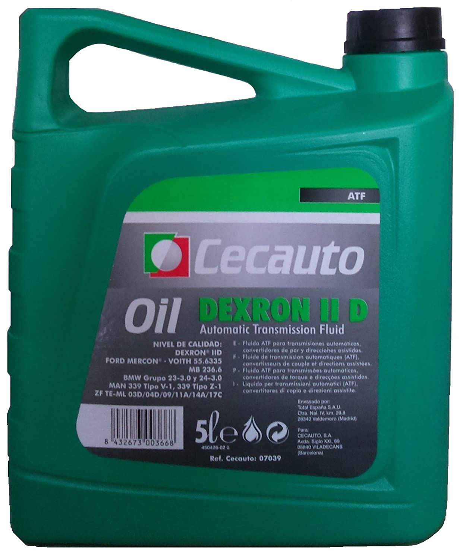 Cecauto 07039 – Aceite Dexron II D, Fluido para Transmisiones Automáticas, Automatic Transmission Fluid, 5 litros. Fluido para Transmisiones Automáticas