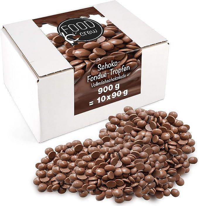 FOOD crew Chocolate Leche Pepitas de Chocolate para Hornear - 900g Chocolate Belga Fundir - Chocolate Fondant para Postres - para Fuentes o Fondue de ...