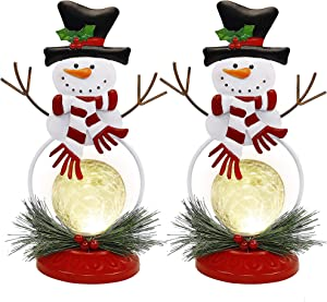 FORUP Lighted Christmas Table Decorations, Christmas Snowman LED Glass Ball Lights, Battery Operated Snowball Lights, Snowman Christmas Decorations, Xmas Holiday Winter Tabletop Desk Ornament, 2 Pack