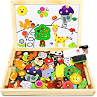 Jojoin 110 pcs Puzzles de Madera Magnética, Juguete Madera con Pizarra Magnética para Dibujo de Doble Cara, Juguete…