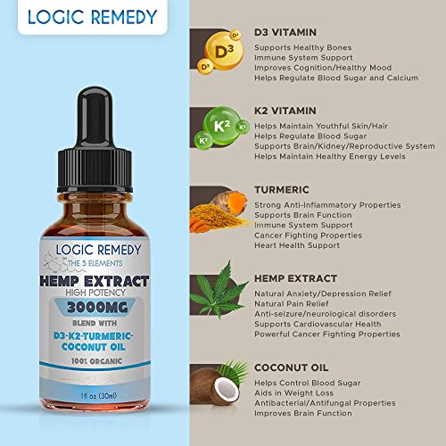 LOGIC REMEDY, The 5 Elements, 3000 mg Hemp Extract Oil, Daily dose of Vitamin D3 K2, Coconut Oil, Turmeric