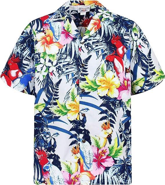 P.L.A. Original Camisa Hawaiana, Flower Power, Blanco, M: Amazon.es: Ropa y accesorios