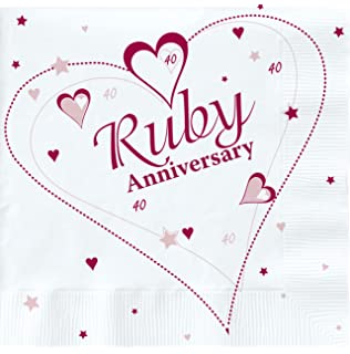 40th ruby wedding anniversary party invitations holographic 36 18 x luxury ruby 40th wedding anniversary party napkins stopboris Choice Image