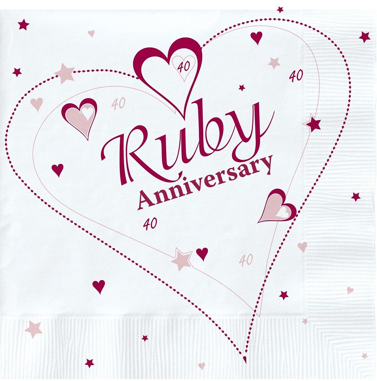 18 x Luxury Ruby 40th Wedding Anniversary Party Napkins Creative