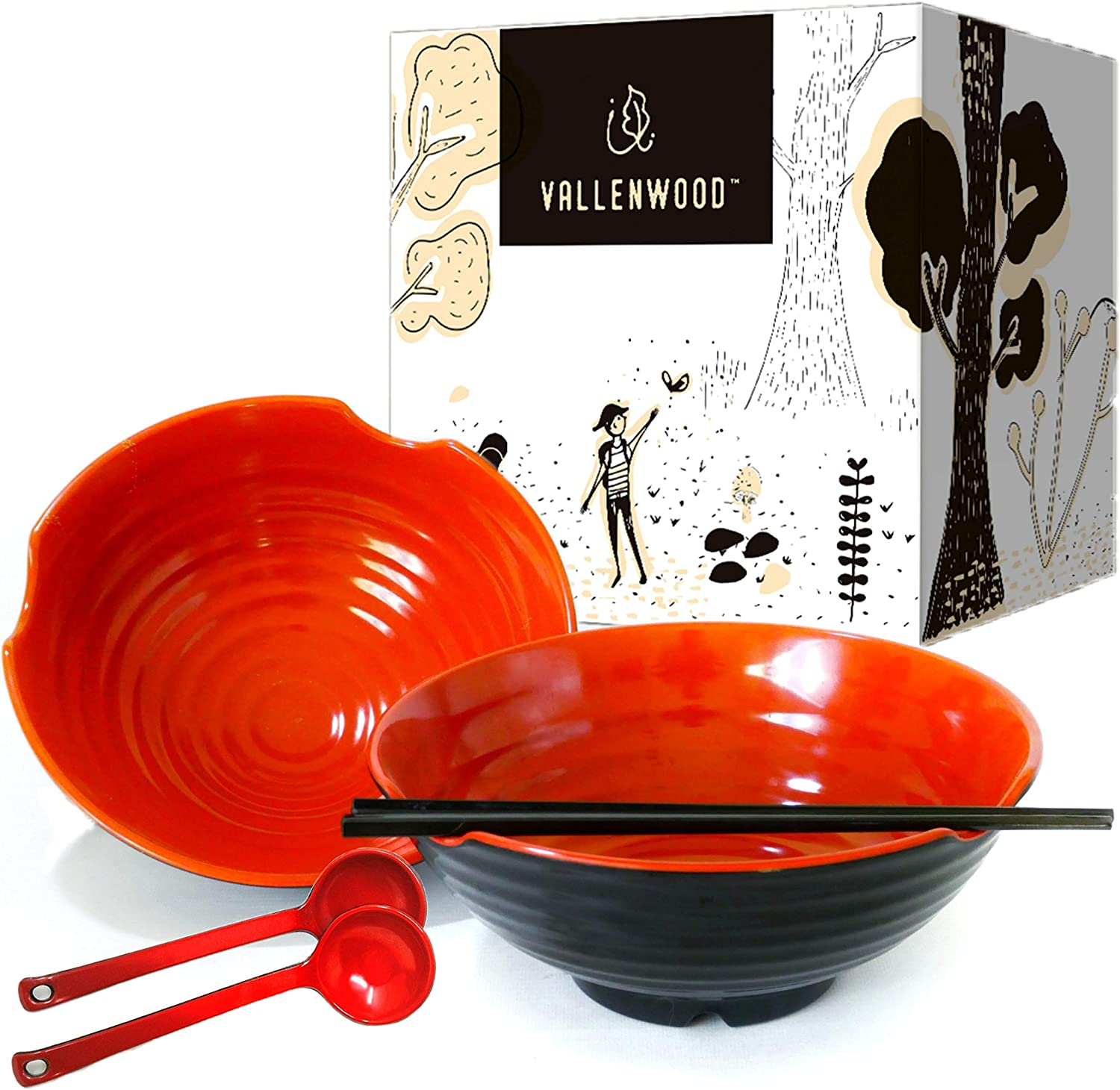 2 XL bowl set, 6 Pieces Ramen Bowl Set by Vallenwood. Asian Japanese soup with Spoons and Chopsticks. Restaurant Quality Melamine, Large 52 oz for Noodles, Pho, Udon, Thai, Chinese dinnerware. (2)