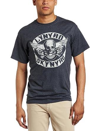 FEA Merchandising Mens Lynyrd Skynyrd Biker Patch T-Shirt, Dark Heather, X-