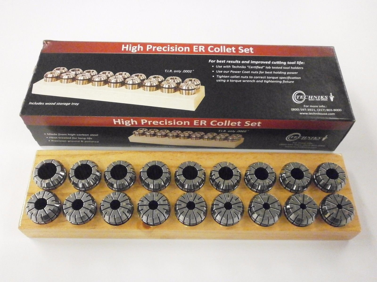 Techniks ER32 Precicion Metric Collet Set 18 Piece -04205MS (3mm - 20mm by 1mm) Average .0002'' TIR, .039'' Collapse Range, CNC Tooling SYIC