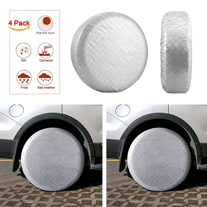 Kohree Tire Covers Tire Protectors RV Wheel Motorhome Wheel Covers Sun Protector Waterproof Aluminum Film, Cotton Lining Fits 27