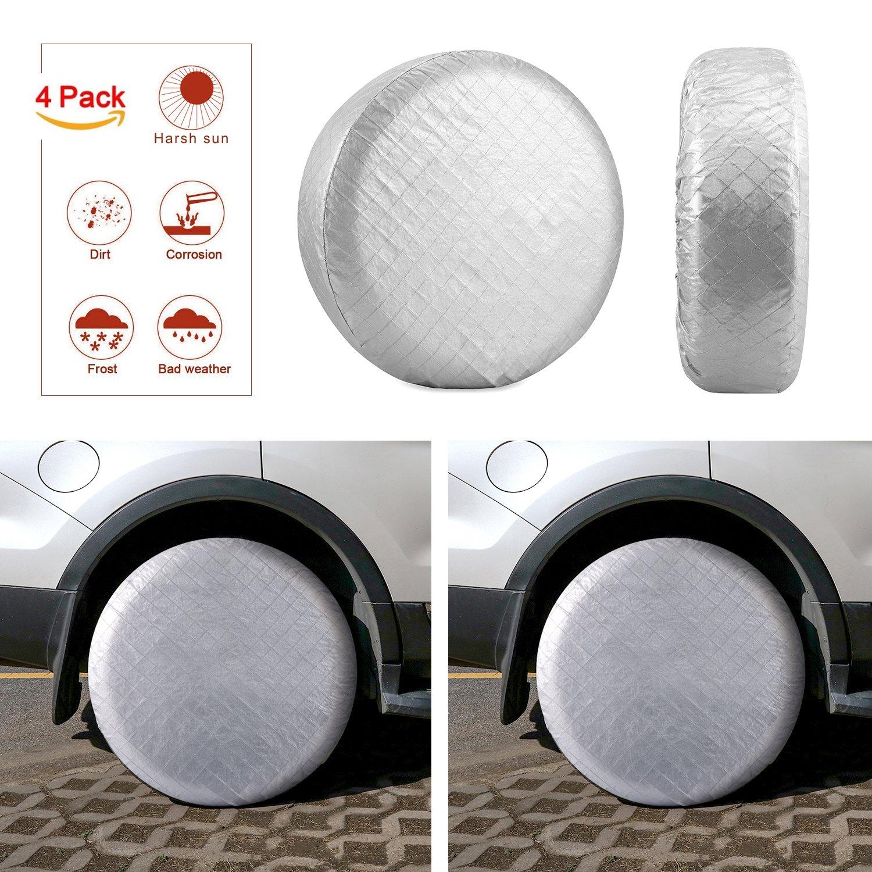 Kohree Tire Covers Tire Protectors RV Wheel Motorhome Wheel Covers Sun Protector Waterproof Aluminum Film, Cotton Lining Fits 30'' to 32'' Tire Diameters Set of 4