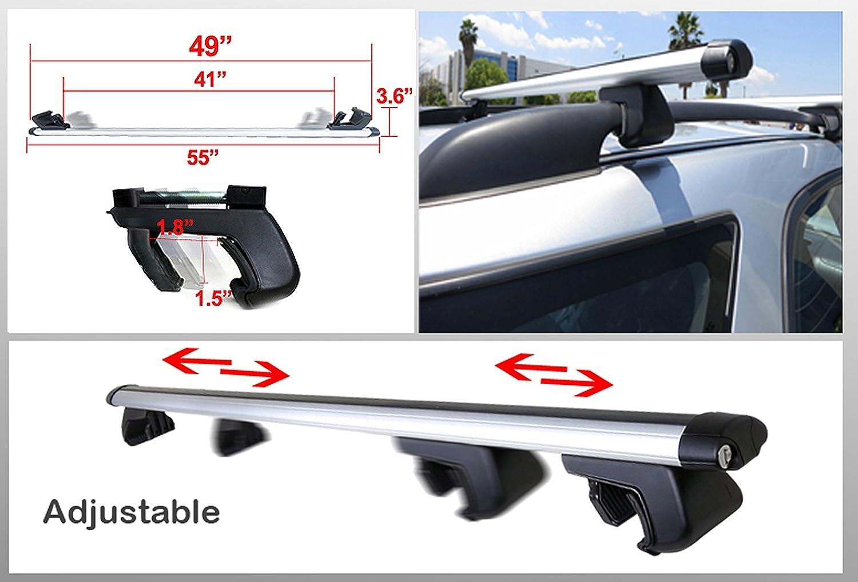 ICBEAMER 55 inch 135cm Universal Luggage Carrier Aluminum roof Rack top Rail Cross bar Cargo Anti-Theft Key Locks