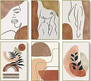 Boho Prints Mid Century Modern Wall Decor Art Prints--Set of 6 Boho Minimalist Abstract Canvas for Teen Girls Room Bedroom Decor,Woman Face Geometric Line Drawing Wall Art Printing for Dorm Living Room| UNFRAMED(8