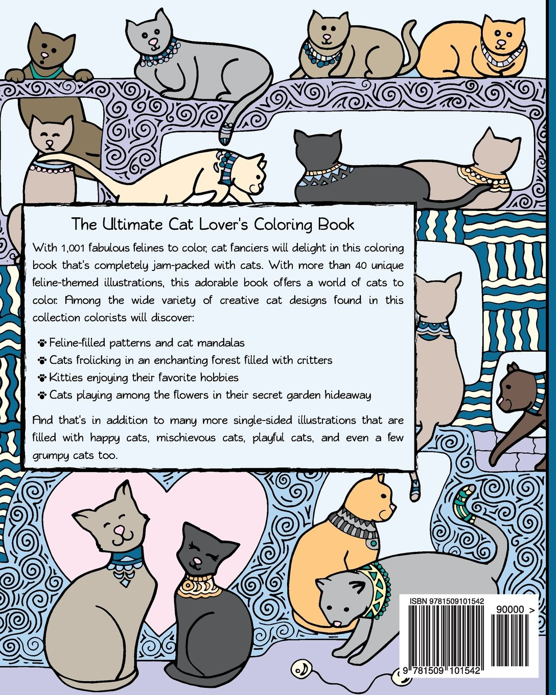 Amazon 1001 Cats A Creative Cat Coloring Book 9781509101542 HR Wallace Publishing Books