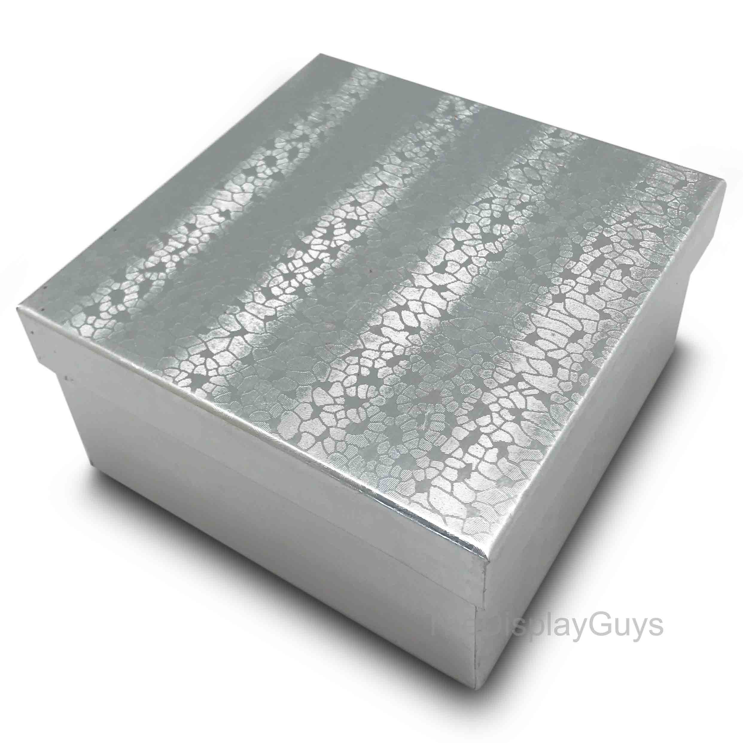 The Display Guys, Pack of 25 Silver 3 3/4x3 3/4x2 inches Cotton Filled Paper Jewelry Box Gift Display Case(#34)