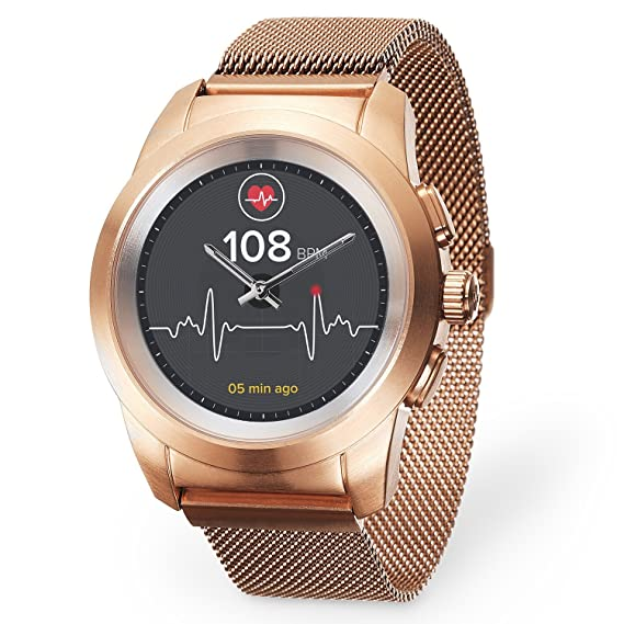 MyKronoz ZeTime Elite Hybrid Smartwatch 44mm with Mechanical Hands Over a Color Touch Screen – Brushed Pink Gold/Milanese (Renewed)
