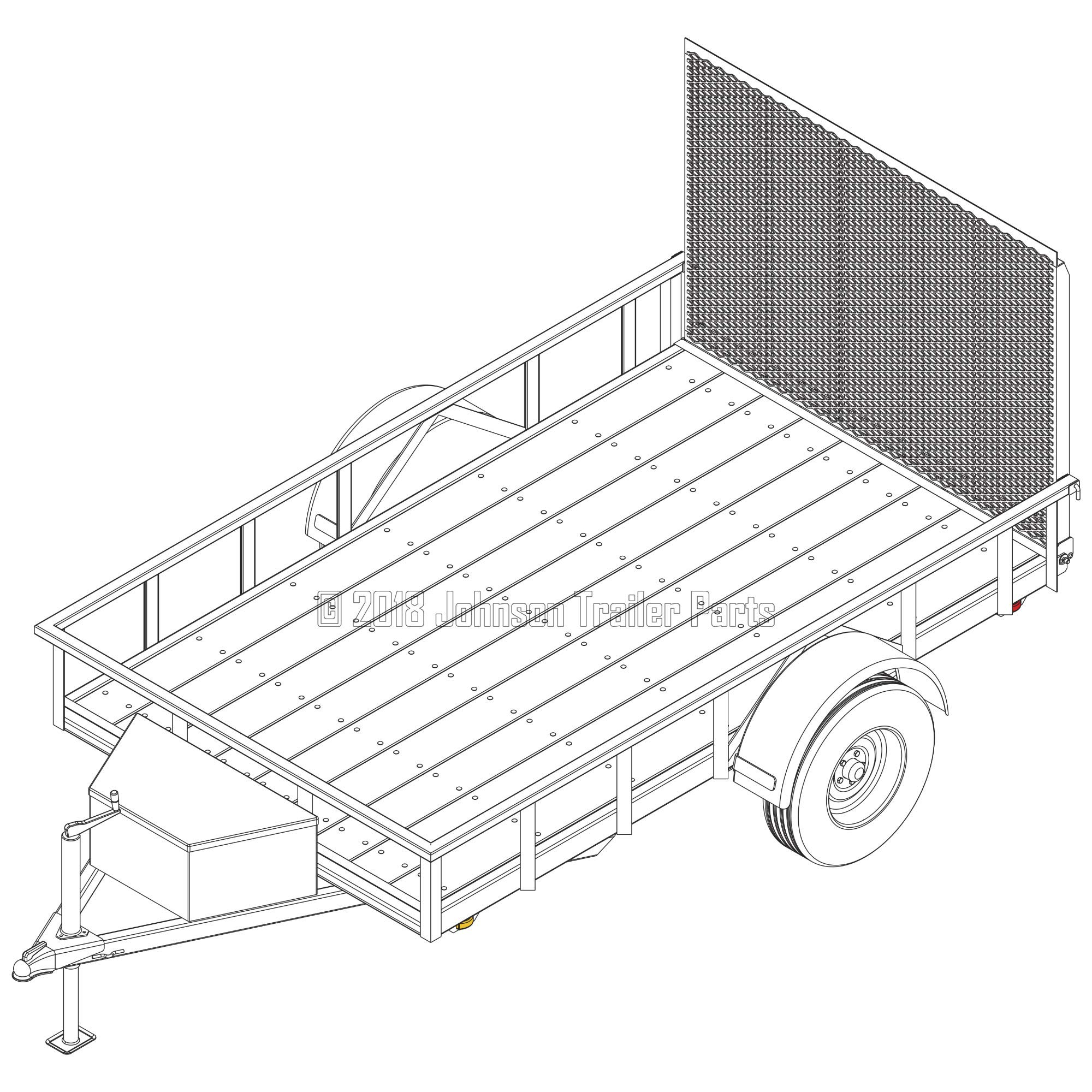 6′ x 10′ Utility Trailer Plans - 3,500 lb Capacity | Trailer Blueprints Model U72-120-35J by Johnson Trailer Parts