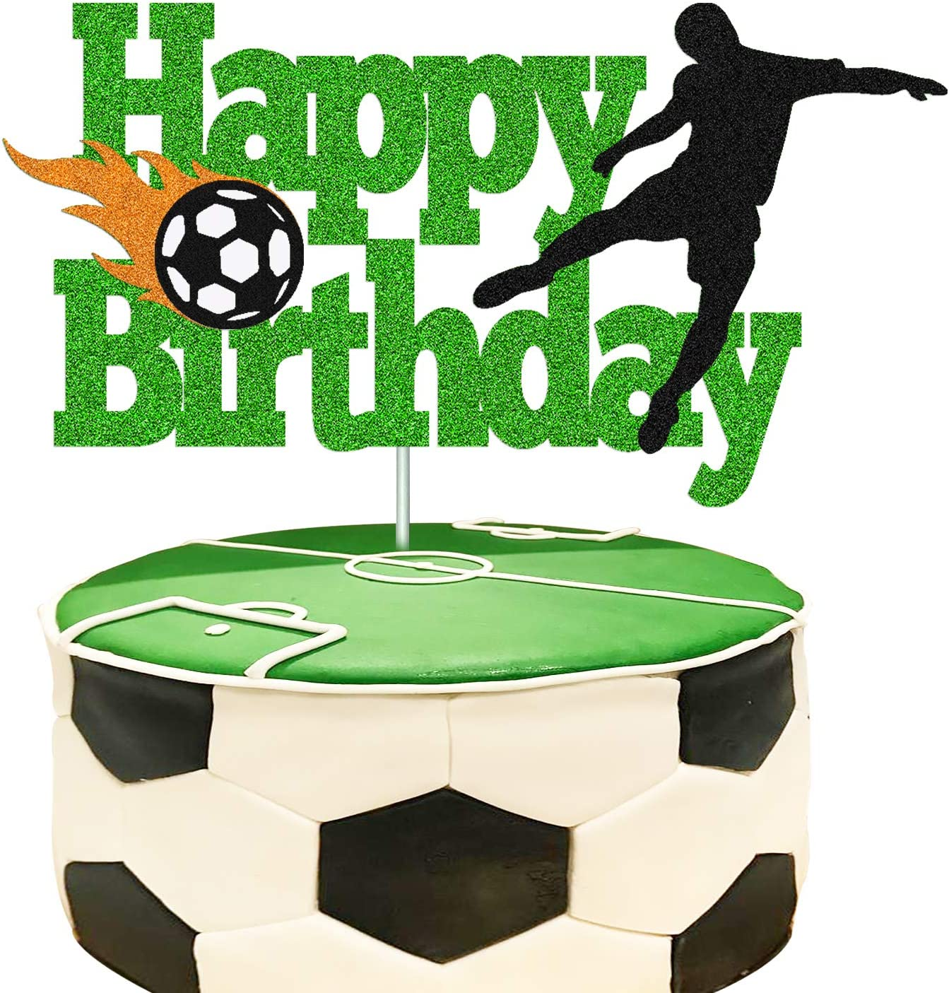 Soccer Cake Topper Happy Birthday Sign Football Player Cake Decorations for Sport Theme Man Boy Girl Birthday Party Supplies Double Sided Green Sparkle Decor