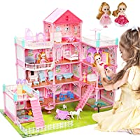 """CUTE STONE 11 Rooms Huge Dollhouse with 2 Dolls and Colorful Light, 31"""" x 28"""" x 27"""" Dream House Doll House Dreamhouse…"""