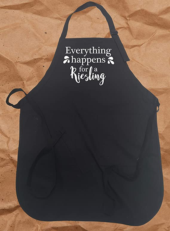 TBA Cooking Apron Everything Happens for A Riesling Reason Funny Wine Lovers Pun Chef Apron One Size fits All Adjustable Grilling or Kitchen Apron for Men Women