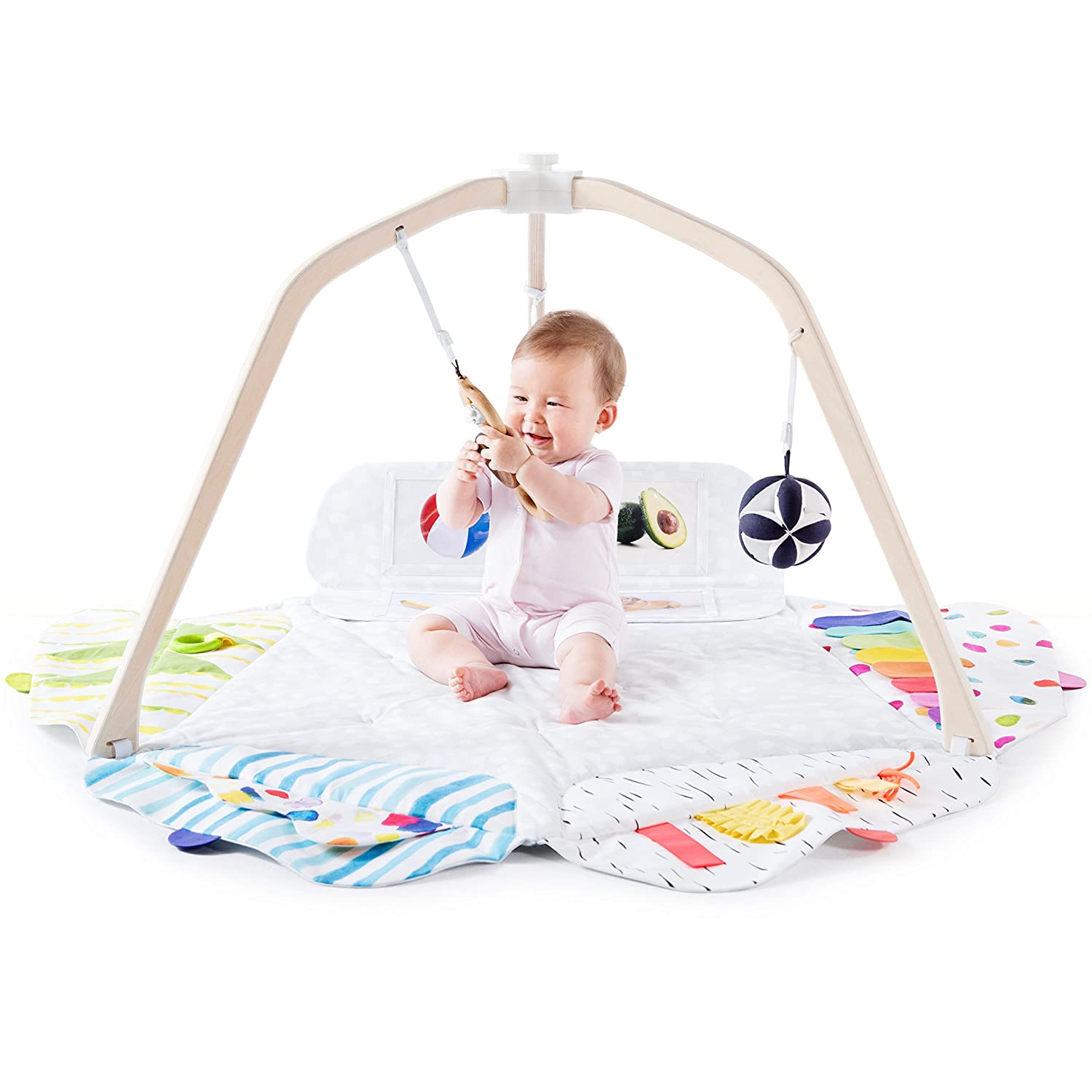 The Play Gym by Lovevery; 5 Developmental Zones for Brain, Fine, Gross Motor & Sensory Development; Organic Teether, Wood Batting Ring, Mirrors; Grounded in Science - Educational Playtime w/a Purpose Lovevery Baby 9000001