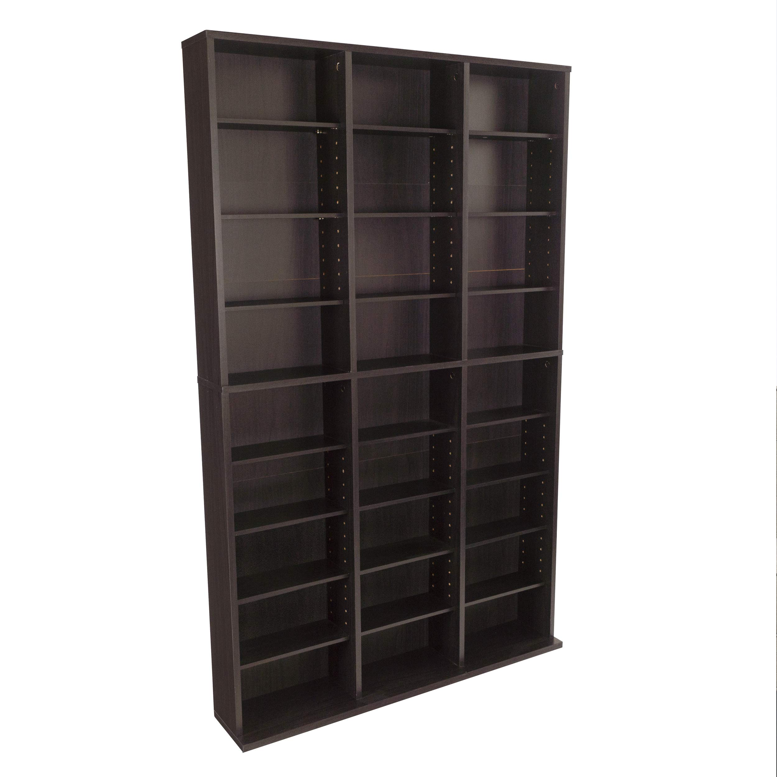 Atlantic Oskar Adjustable Media Wall-Unit - Holds 756 CDs, 360 DVDs or 414 Blu-Rays/Games, 21 Adjustable and 6 fixed shelves PN38435713 in Espresso by Atlantic