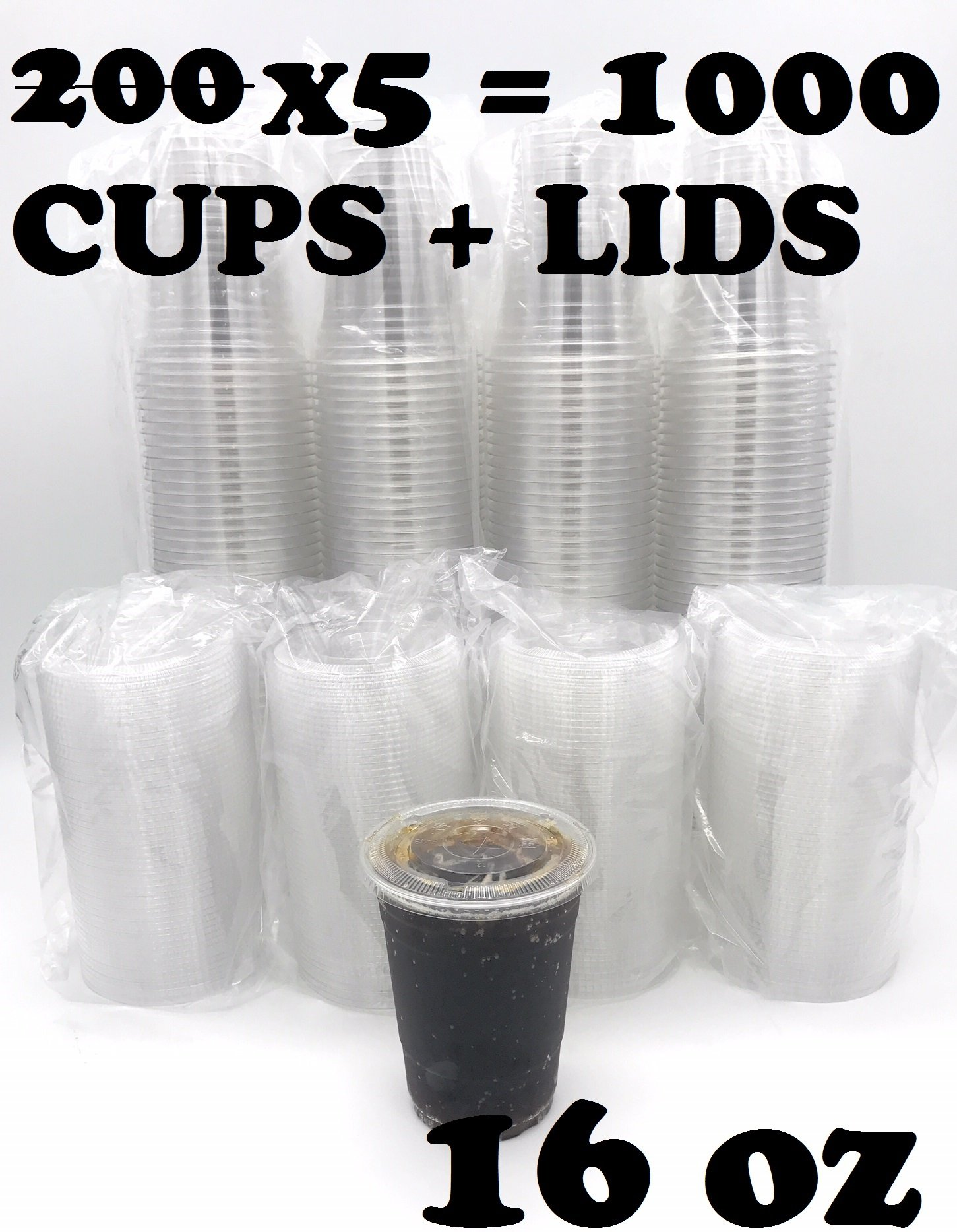 [1000 SETS] Plastic Disposable Cups with Lids - Premium 16 oz (ounces) Crystal Clear PET for Cold Drinks Iced Coffee Tea Juices Smoothies Slushy Soda Cocktails Beer Kids Safe (16oz Cups + Flat Lids)
