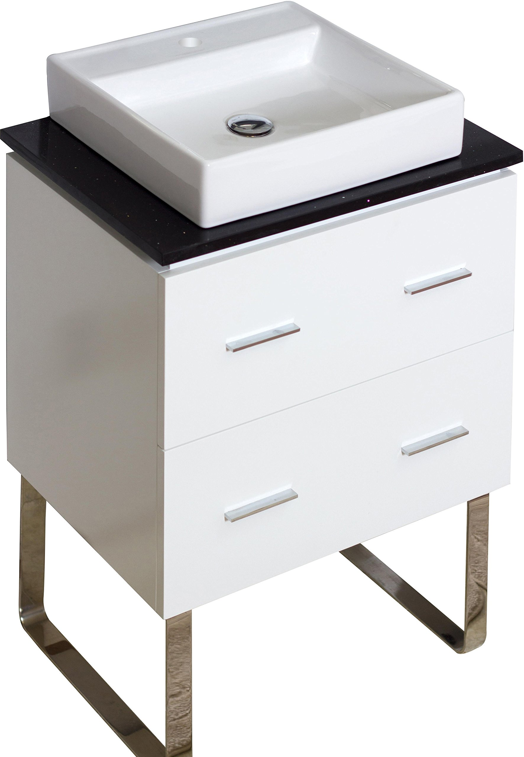 American Imaginations 733   24-Inch W X 18-Inch D Glossy White Vanity with Black Quartz Top and Square White Vessel for Single Hole Deck Mount Faucet