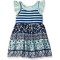 Youngland, Conjunto de 3 Piezas para niñas pequeñas, Vestido de Punto Impreso, Parte Superior y pantalón Corto