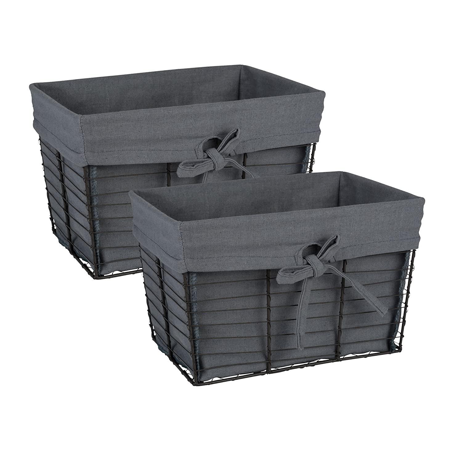 DII Vintage Grey Wire Basket Removable Fabric Liner, Set of 2, Gray