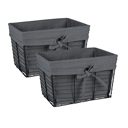 Attrayant DII Farmhouse Vintage Food Safe Metal Chicken Wire Storage Baskets With  Removable Fabric Liner For Home