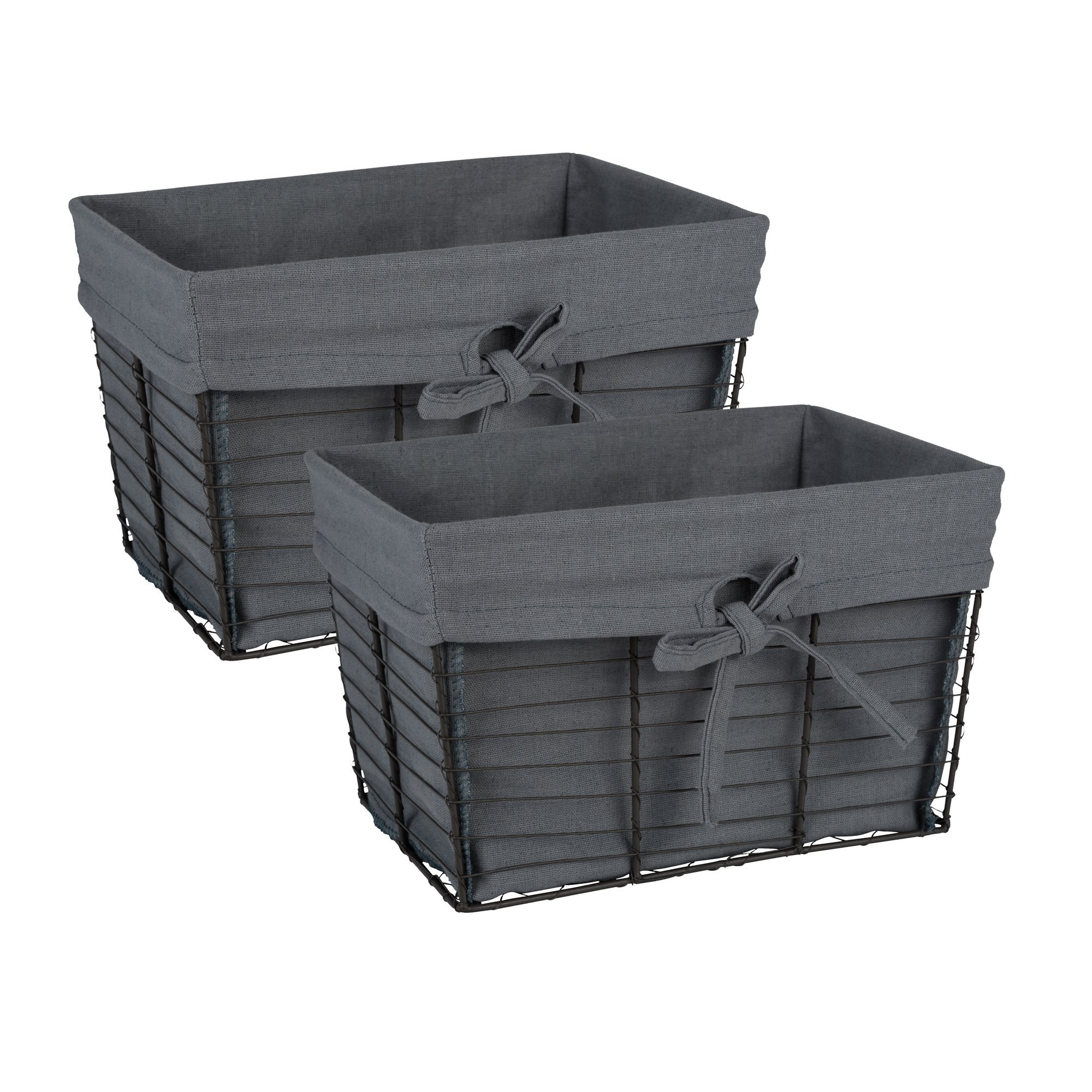 DII Farmhouse Vintage Food Safe Metal Chicken Wire Storage Baskets with Removable Fabric Liner for Home Décor or Kitchen Use, Set of 2, Gray