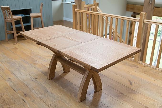 d717aeb41d Country Oak 1.3m - 1.8m Square End Cross Leg Extending Dining Table.:  Amazon.co.uk: Kitchen & Home