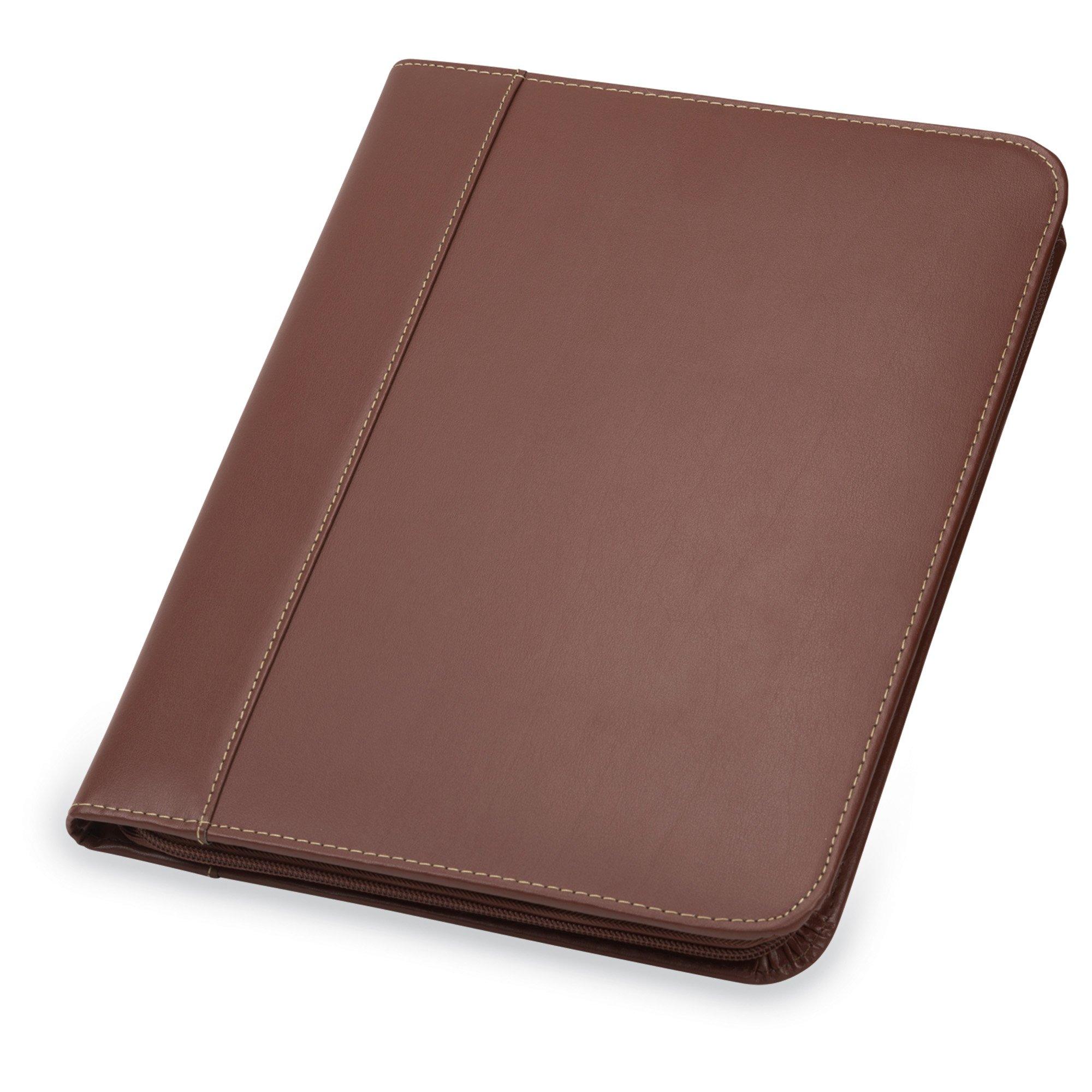 Samsill 71726 Contrast Stitch Leather Zipper Padfolio - Lightweight & Stylish Business Portfolio for Men & Women - Resume Portfolio, 8.5 x 11 Writing Pad, Tan/Brown by Samsill