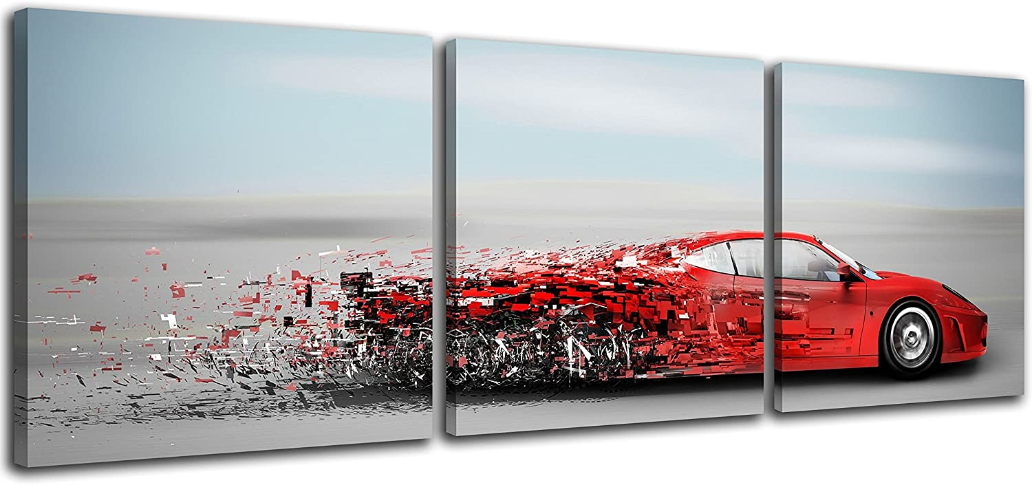 NAN Wind Abstract Red Speedy Car Poster Wall Art Sports Car Canvas Prints Red Car and Clouds Cars Picture Print on Canvas 3 Panel Small Size Speed Blur Cars Decorations for Boys Room Home Decoration