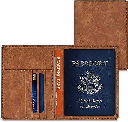 kwmobile Funda para pasaporte de cuero sintético compatible con ...