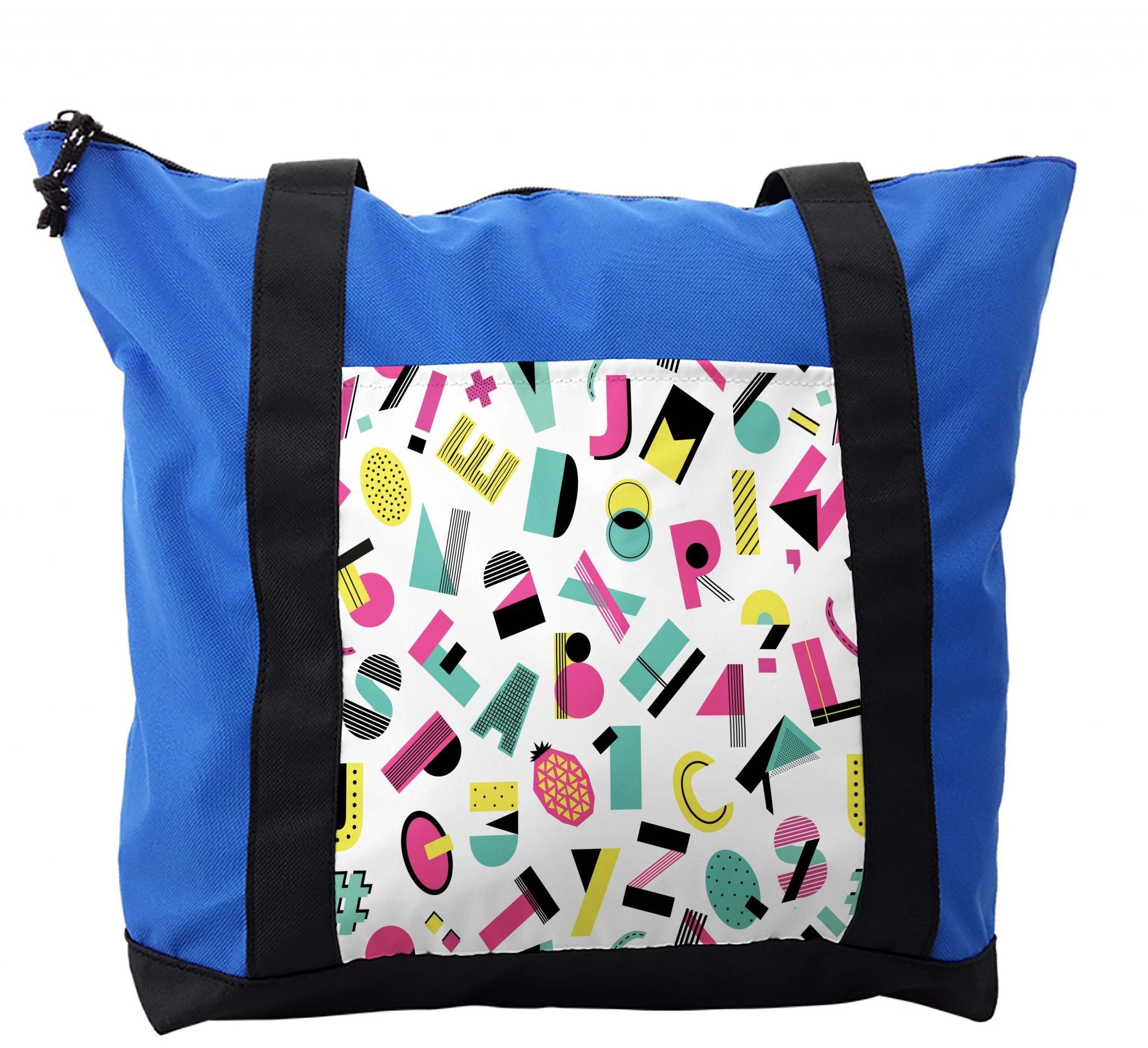 Lunarable ABC Kids Shoulder Bag, Groovy Fashion Alphabet, Durable with Zipper