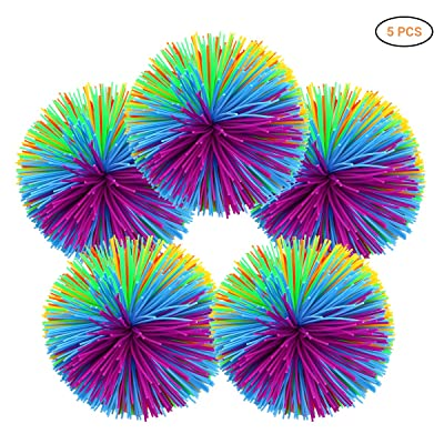 NOENNULL Silicone Ball5pcs Stringy Balls Soft Silicone Active Fun Toy Bouncy Stress Toy Rainbow Stress Relief Toy: Home & Kitchen [5Bkhe1900764]