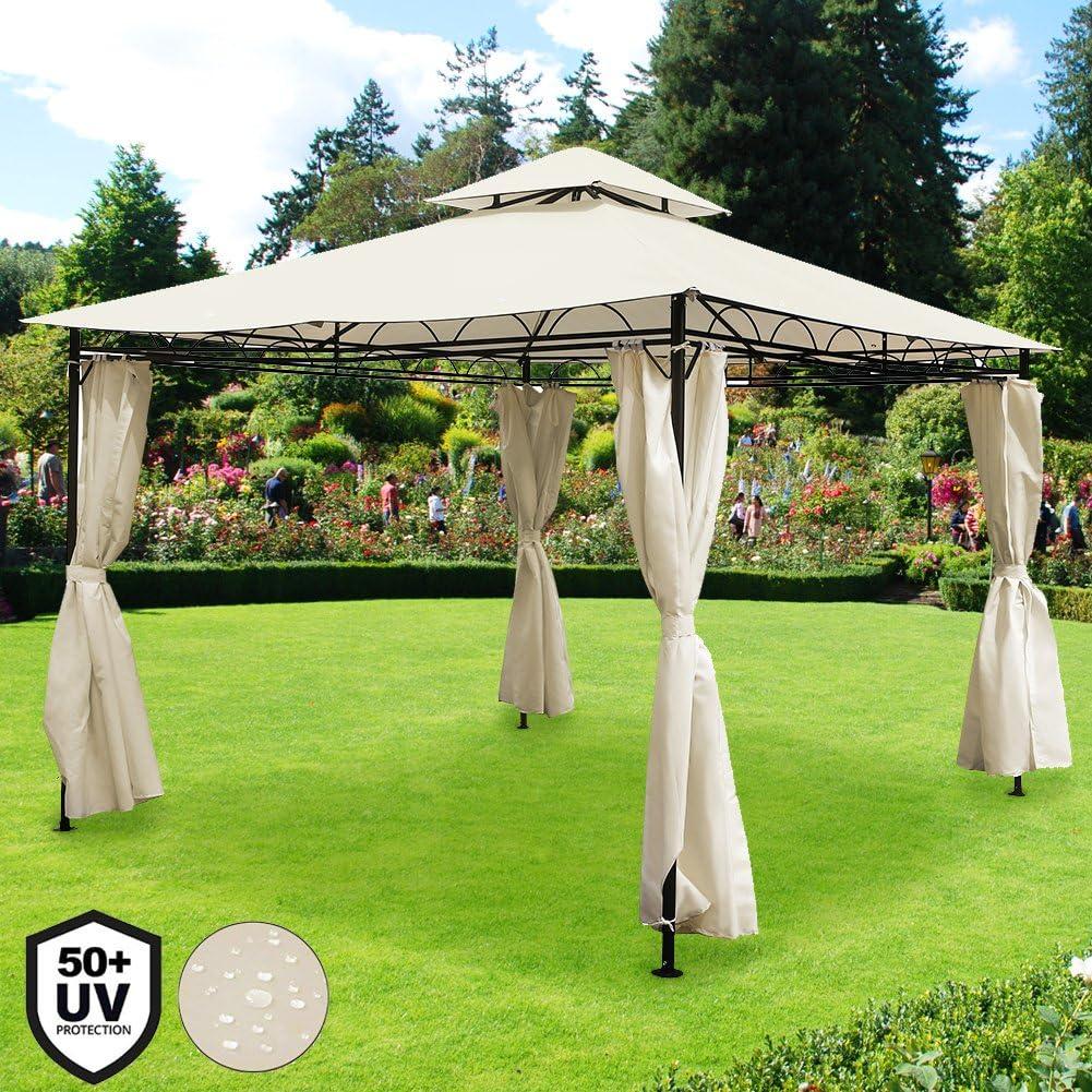 BAKAJI cenador de jardín con Estructura Tubular de Acero Inoxidable con Cortinas de Tela de Oxford de PVC Impermeable antiviento Color Beige Muebles de jardín terraza Exterior: Amazon.es: Jardín