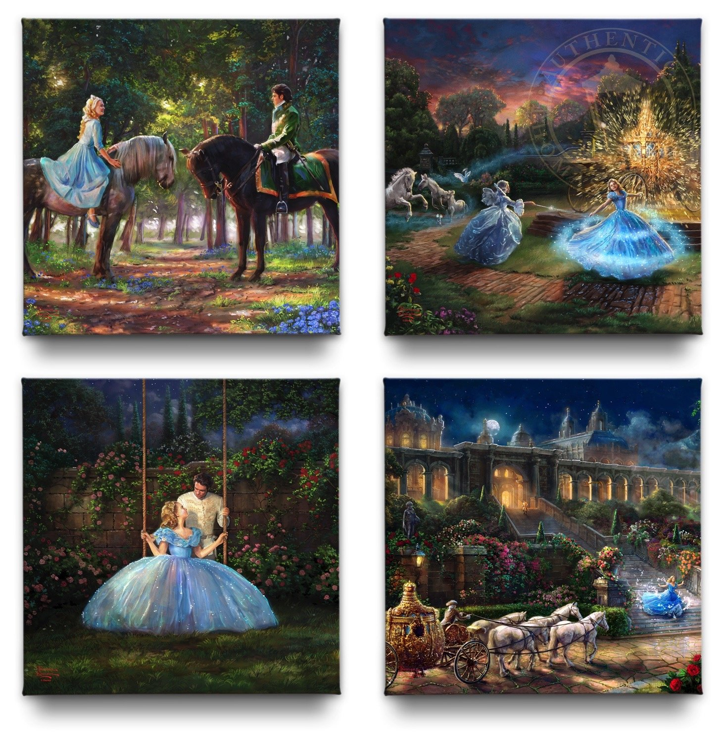 Cinderella Gallery Wrapped Canvases (Set of 4) - 14'' x 14'' Thomas Kinkade Studios Disney Gallery Wrapped Canvases