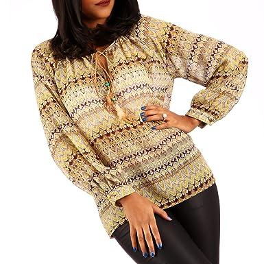Young-Fashion Damen Chiffon Bluse Hippie Blusenshirt Ethno Style Oversize  Shirt, Farbe:OrangeGelb