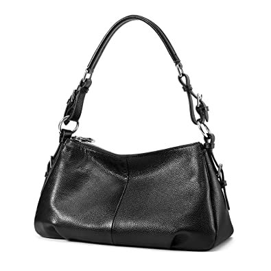 Kattee Ladies' Vintage Leather Hobo Shoulder Handbag Black ...