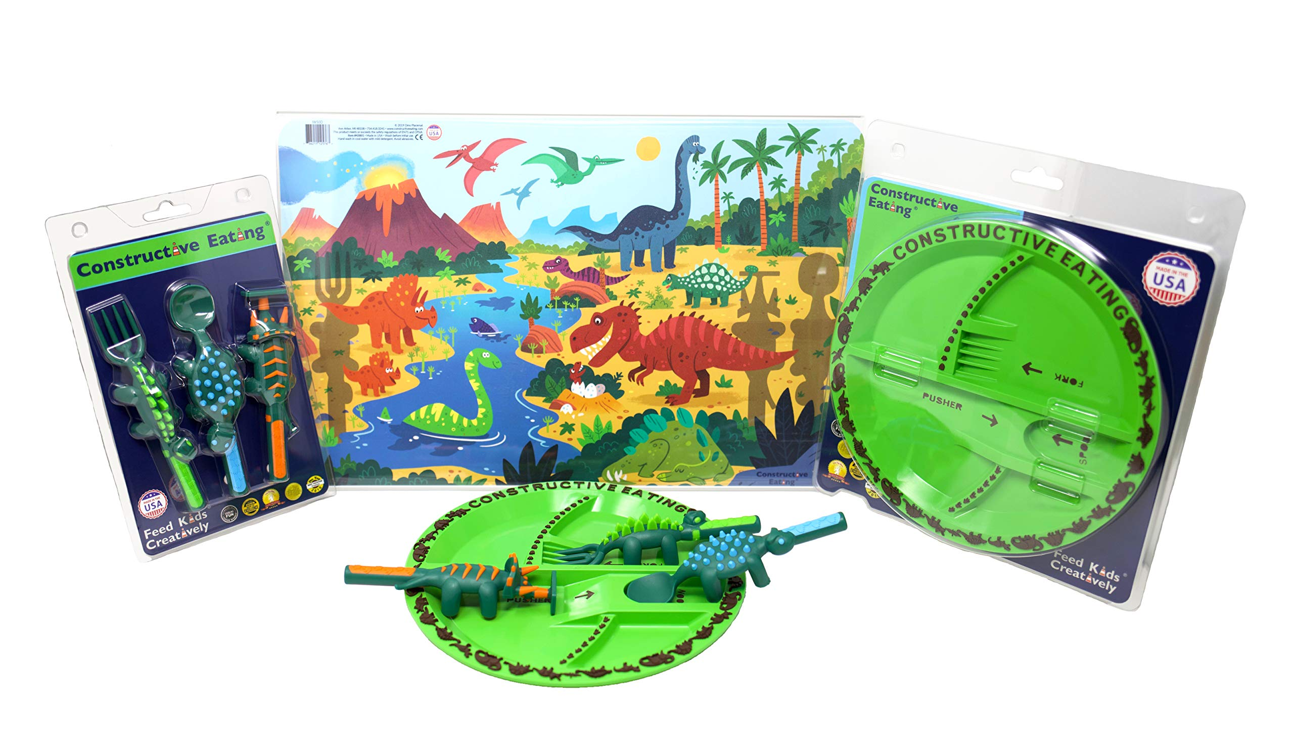 Constructive Eating Dinosaur Combo with Utensil Set, Plate, and Placemat for Toddlers, Infants, Babies and Kids - Flatware Set is Made with FDA Approved Materials for Safe and Fun Eating by Constructive Eating