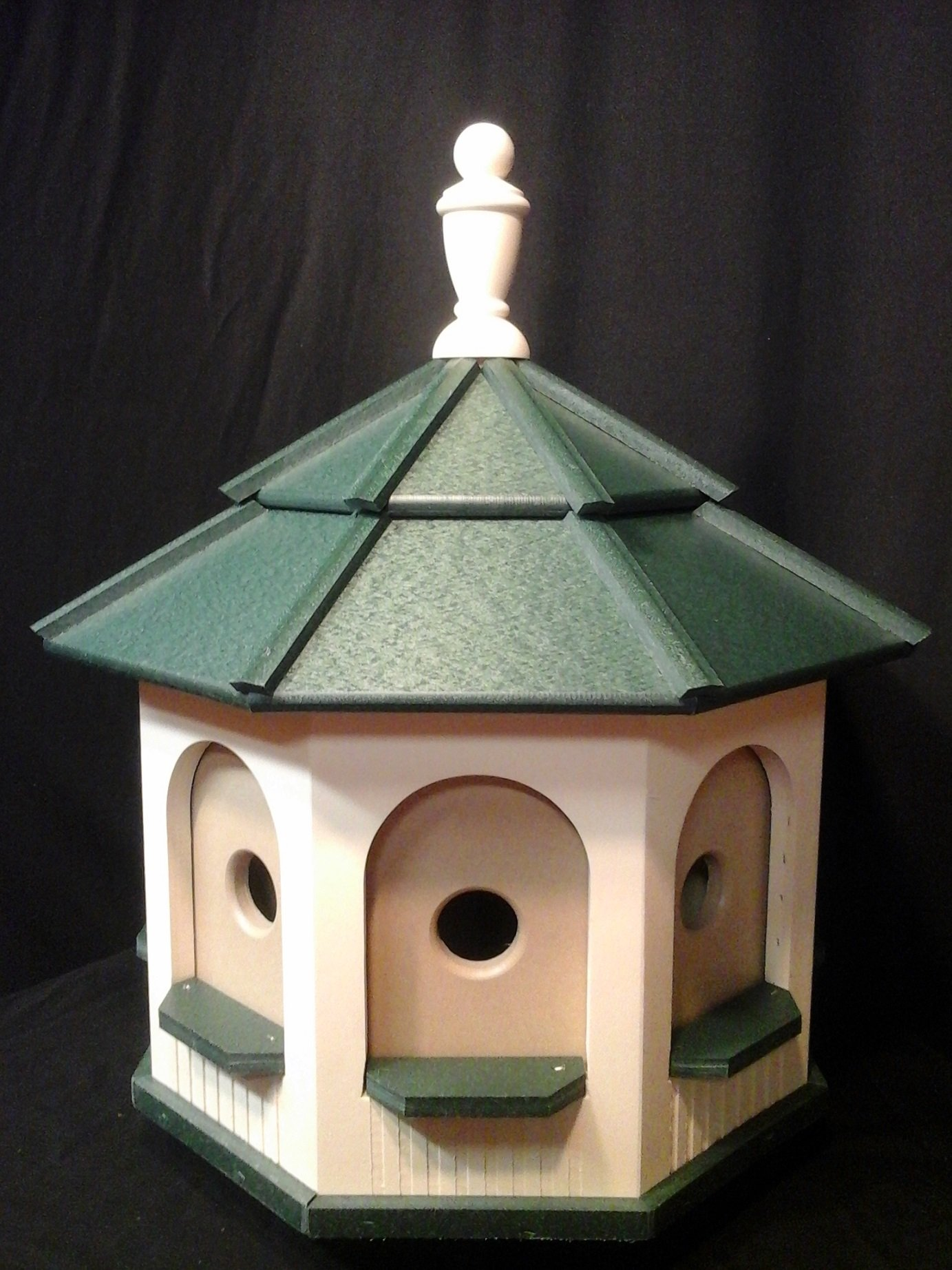Large Poly Handcrafted Handmade Homemade Birdhouse Garden Ivory & Green Roof