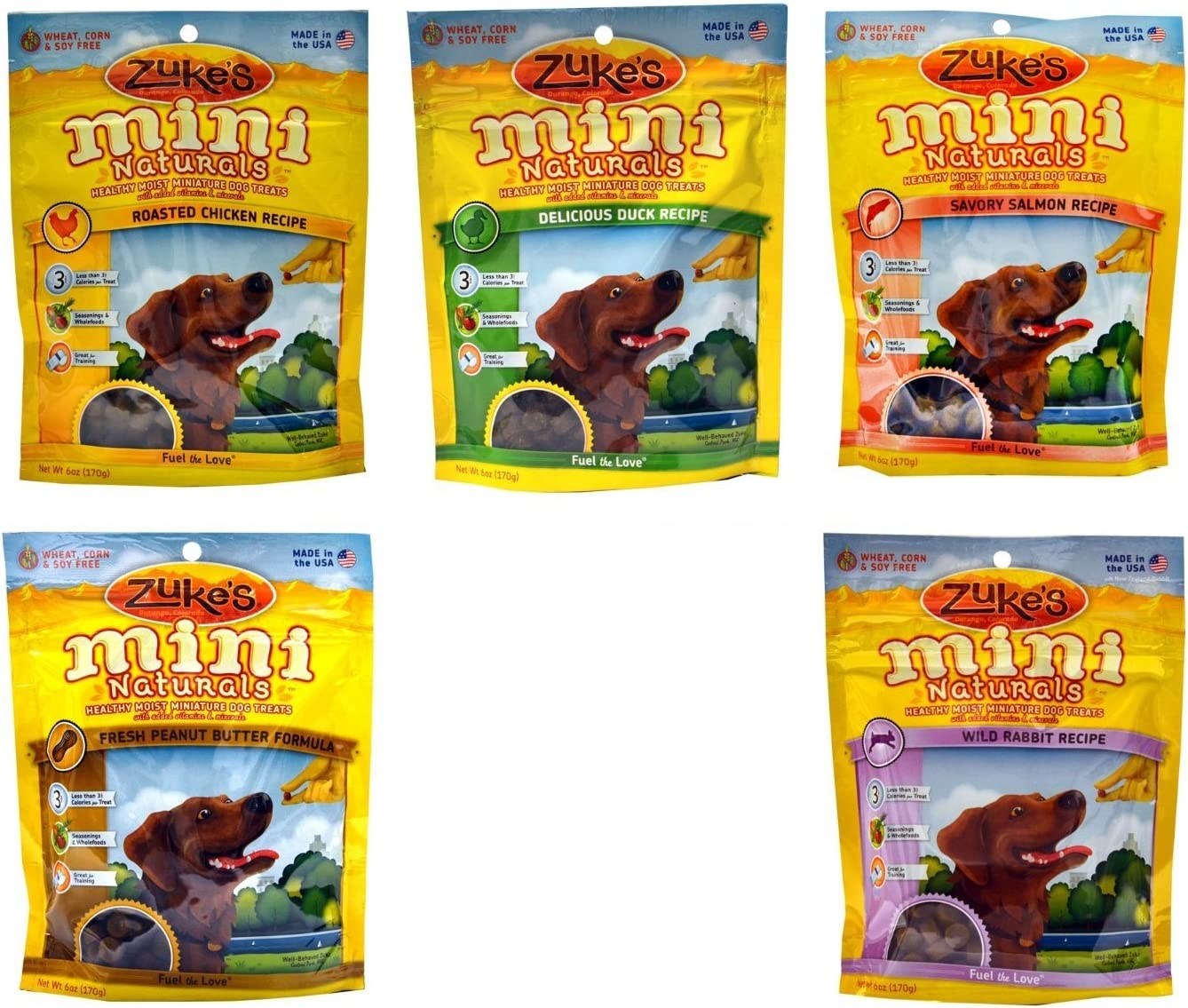 Zuke s Mini Naturals Healthy Moist Dog Treats Variety Pack – 5 Flavors Wild Rabbit, Roasted Chicken, Delicious Duck, Savory Salmon, Fresh Peanut Butter – 6 oz Each 5 Total Pouches