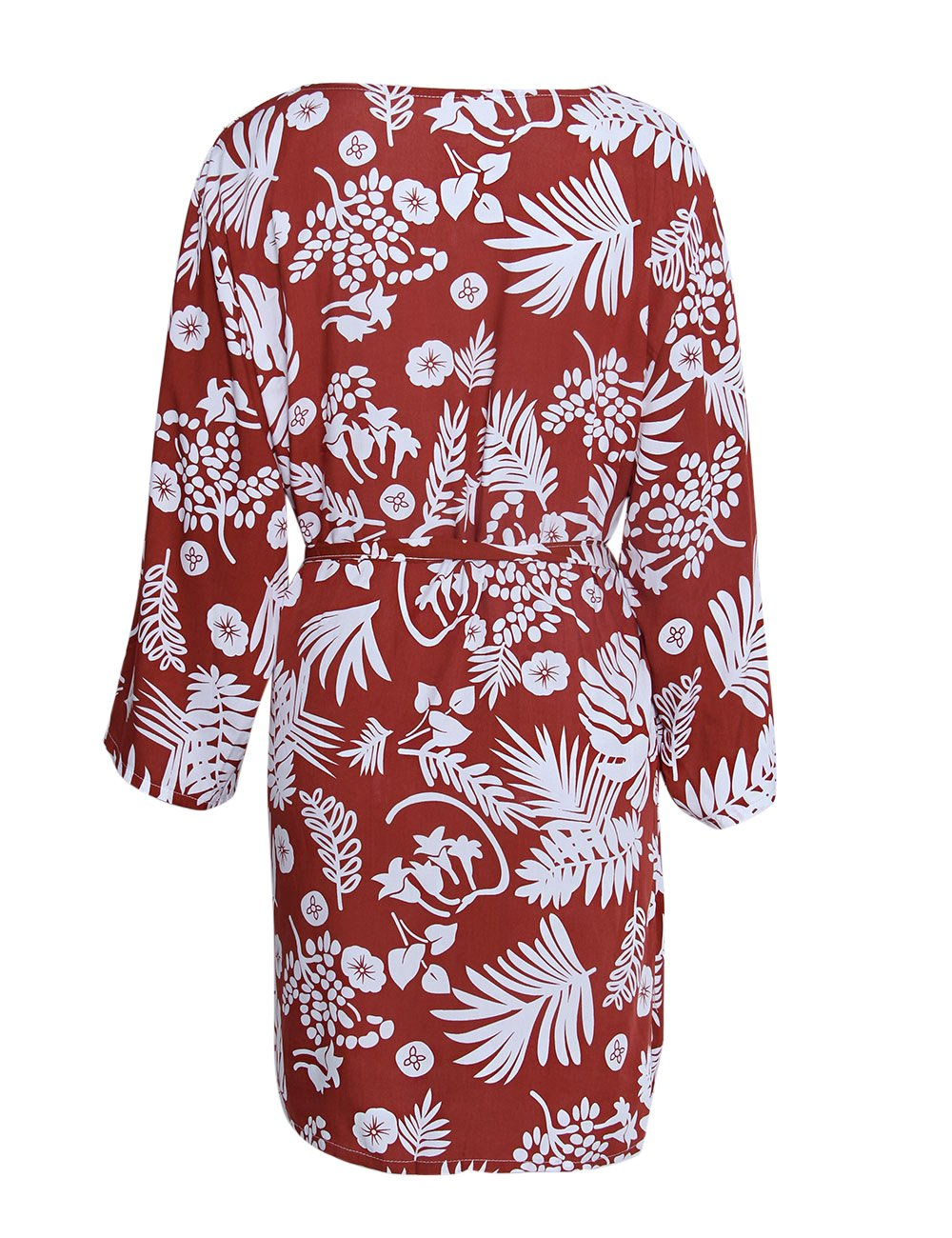 shermie Women's Floral Leaf Print Kimono Cardigan Cover up Swimwear with Belt Rust Red by shermie (Image #6)