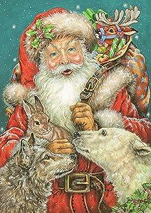 Toland Home Garden Santa and Friends 12.5 x 18 Inch Decorative Winter Christmas Reindeer Holly Presents Garden Flag